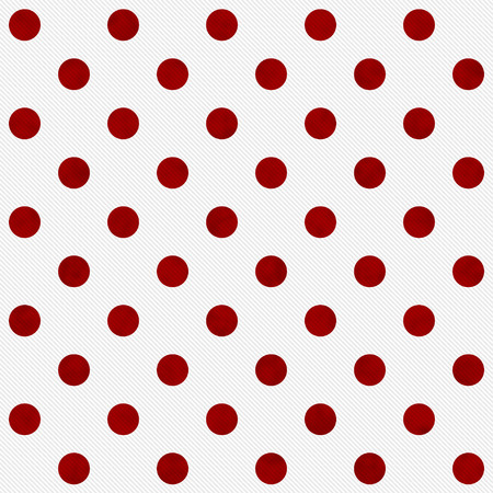 white polka dots: Red Polka Dots on White Textured Fabric Background that is seamless and repeats