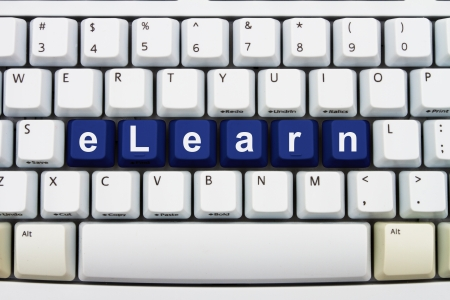 elearn: Computer keyboard keys with word elearn, Getting Training on the Internet Stock Photo