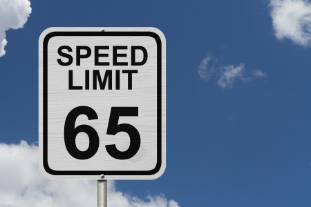 kilometre: A white American road sign with words Speed Limit and 65 with sky background, Speed Limit 65 Sign