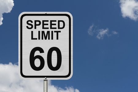 kilometre: A white American road sign with words Speed Limit and 60 with sky background, Speed Limit 60 Sign Stock Photo