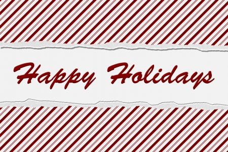 happy holidays text: Candy Cane Striped Christmas Background and Happy Holidays Text, Happy Holidays Wishes