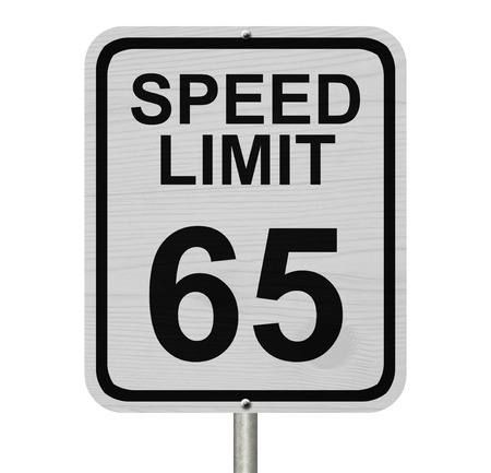 kilometre: A white American road sign with words Speed Limit and 65 isolated over white, Speed Limit 65 Sign
