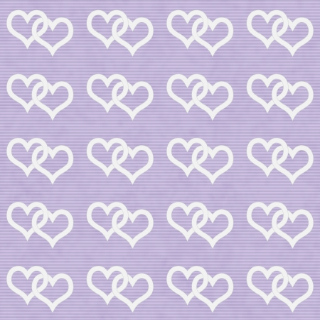 White Interwoven Hearts and Purple Thin Horizontal Stripes Textured Fabric Background that is seamless and repeats