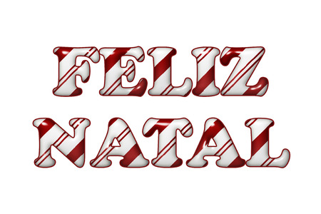 The words Feliz Natal in Candy Cane colors red and white stripes isolation over white photo