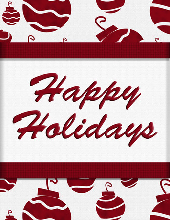 happy holidays text: Red Retro Ornaments and Happy Holidays Text, Happy Holidays