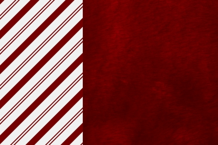 candy stripe: Candy Cane Striped and Red Plush Fabric Christmas Background with center copy-space, Christmas Time Background Stock Photo