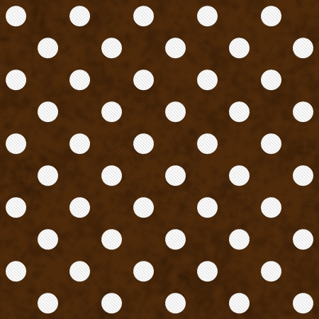 brown: White Polka Dots on Brown Textured Fabric Background that is seamless and repeats Stock Photo