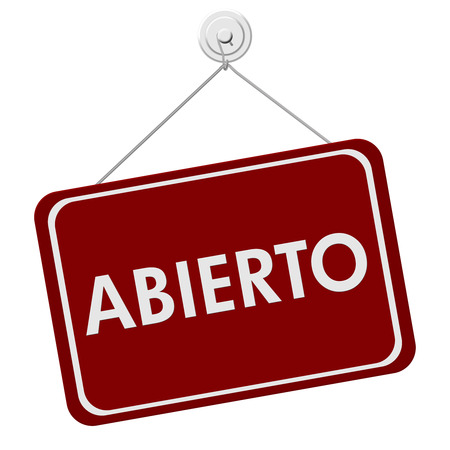shop sign: A red and white sign with the word Abierto Open isolated on a white background, Abierto Open Sign