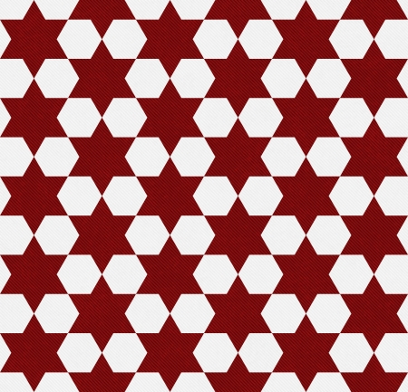 Red and White Hexagon Patterned Textured Fabric Background that is seamless and repeats photo