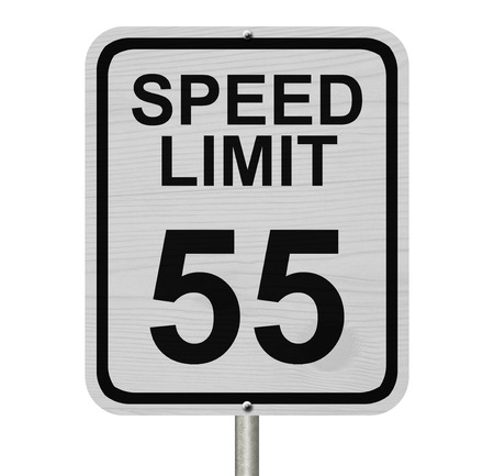 traffic rules: A white American road sign with words Speed Limit and 55 isolated over white, Speed Limit 55 Sign Stock Photo