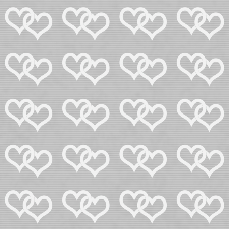 repeatable: White Interwoven Hearts and Gray Thin Horizontal Stripes Textured Fabric Background that is seamless and repeats