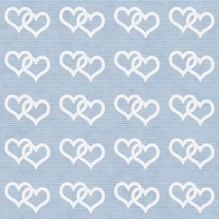 White Interwoven Hearts and Blue Thin Horizontal Stripes Textured Fabric that is seamless and repeats photo