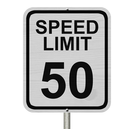 kilometre: A white American road sign with words Speed Limit and 50 isolated over white, Speed Limit 50 Sign Stock Photo