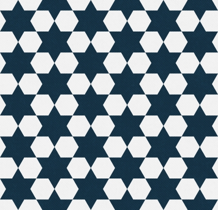 Dark Blue and White Hexagon Patterned Textured Fabric Background that is seamless and repeats photo