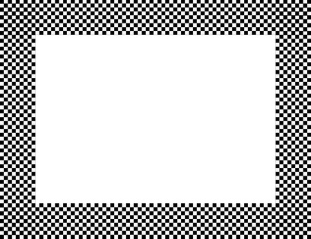checker: Black and White Checkered Frame Background with center isolated for copy-space Stock Photo