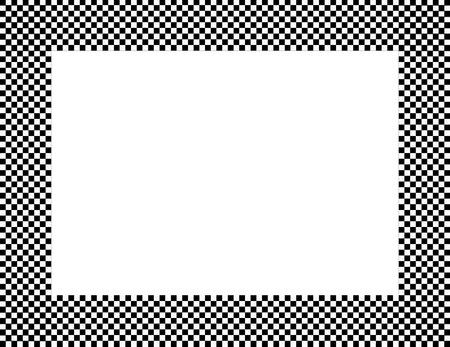 cuadros blanco y negro: Blanco y negro a cuadros de fondo del marco con el centro aislado de copia-espacio Foto de archivo