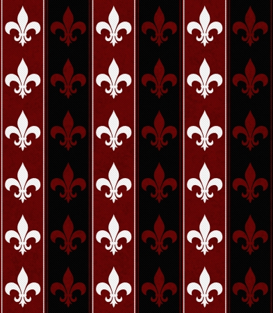 White, Black and Red Fleur De Lis Textured Fabric Background that is seamless and repeats