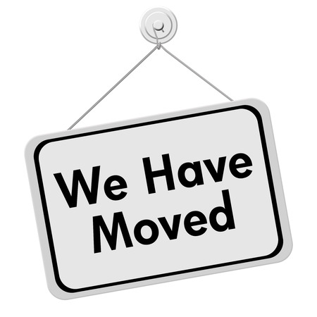 moved: A white and black sign with the words We Have Moved isolated on a white background, We Have Moved Sign Stock Photo