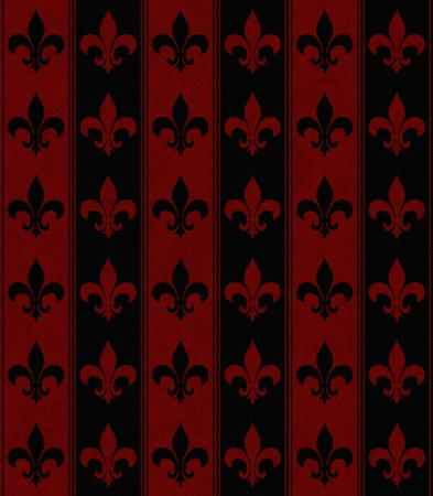 Black and Red Fleur De Lis Textured Fabric that is seamless and repeats