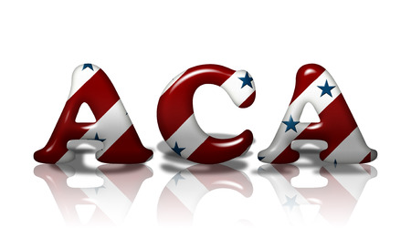 affordable: Word ACA in 3D American flag colors isolated on white with copy-space, American Affordable Care Act
