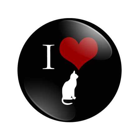 I Love Cats button, A black and red  button with cat symbol isolated on a white photo