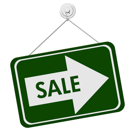 A green and white sign with the word Sale and Arrow isolated on a white background, Sale Sign