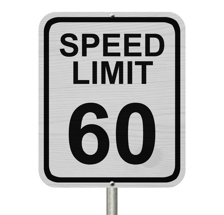 kilometre: A white American road sign with words Speed Limit and 60 isolated over white, Speed Limit 60 Sign