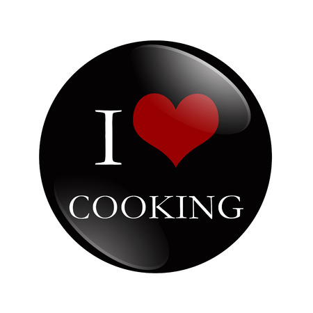 I Love Cooking button, A black and red  button with word Cooking isolated on a white background