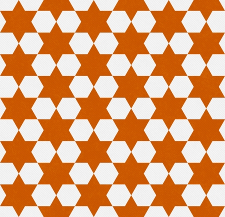 Orange and White Hexagon Patterned Textured Fabric Background that is seamless and repeats photo