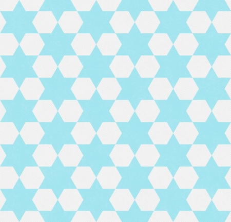 Teal and White Hexagon Patterned Textured Fabric Background that is seamless and repeats photo