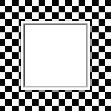 checker: Black and White Checkered Frame with Frame Background with center for copy-space, Classic Checkered Frame Stock Photo