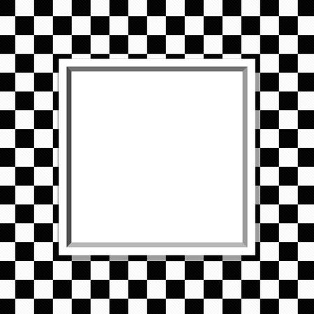 cuadros blanco y negro: Marco blanco y negro a cuadros con el fondo del marco con el centro para la copia espacio, marco clásico a cuadros