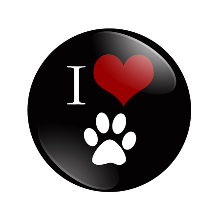 I Love Cats button, A black and red  button with cat paw print symbol isolated on a white background photo