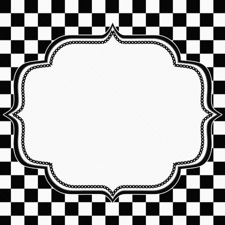 damier noir et blanc cadre avec ruban fond avec le centre pour la