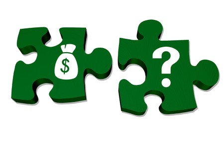 Green puzzle pieces with symbols of a money bag and question mark isolated over white, Understanding your money and savings photo