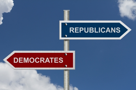 democrat party: Red and blue street signs with blue sky with words Republicans and Democrats, Republicans versus Democrats