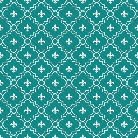 aqua flowers: White and Dark Teal Fleur-De-Lis Pattern Textured Fabric Background that is seamless and repeats Stock Photo