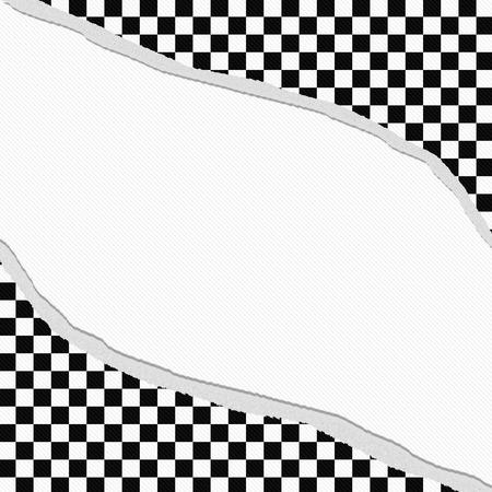 cuadros blanco y negro: Marco blanco y negro a cuadros con fondo rasgado con el centro para el espacio de copia, Classic Torn marco a cuadros