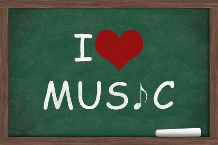 i like my school: I love Music, I heart Music with music note symbol written on a chalkboard with a piece of white chalk