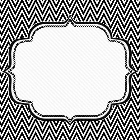 Black and White Chevron Frame with Embroidery Background with center for copy-space, Classic Chevron Frame photo