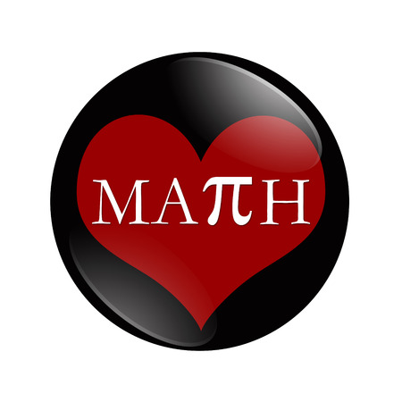 i like my school: I Love Math button, A black and red button with word Math and a heart isolated on a white background Stock Photo