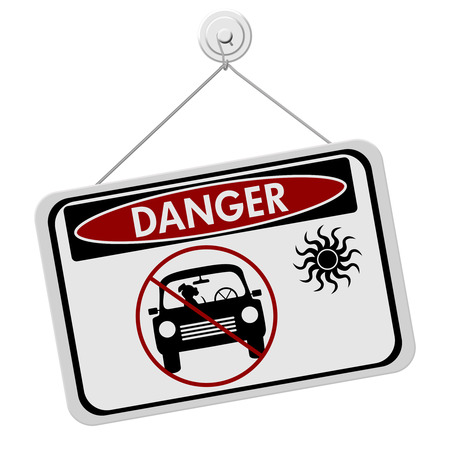Dangers of leaving a dog in parked cars, A red and black danger sign with the symbols of dog in car isolated on a white background Stock Photo - 25179407