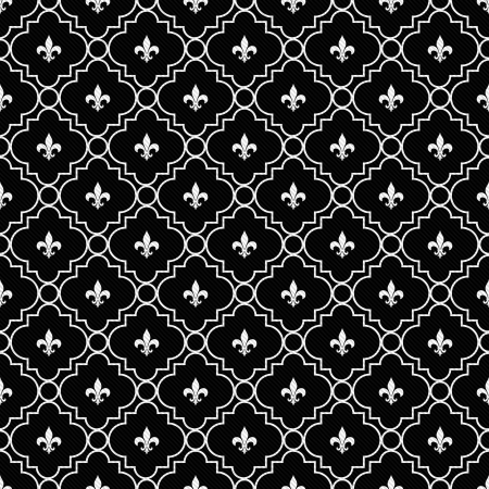 repeatable: White and Black Fleur-De-Lis Pattern Textured Fabric Background that is seamless and repeats
