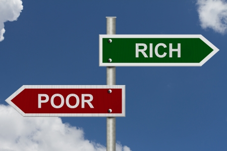 Red and green street signs with blue sky with words Rich and Poor, Rich versus Poor photo