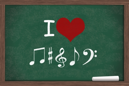 i like my school: I love Music, I heart with music note symbols written on a chalkboard with a piece of white chalk