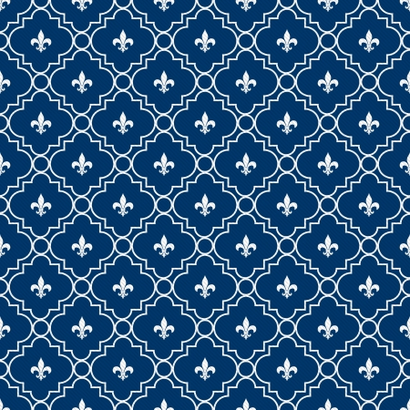 lys: White and Blue Fleur-De-Lis Pattern Textured Fabric Background that is seamless and repeats Stock Photo