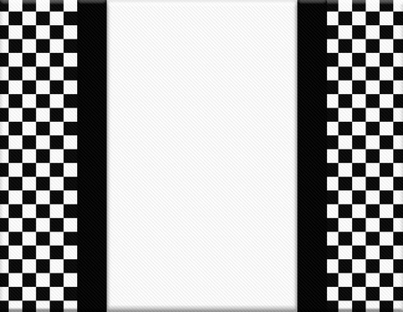 checkerboard: Black and White Checkered Frame with Ribbon Background with center for copy-space, Classic Checkered Frame