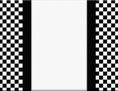 bordure de page: Damier noir et blanc Cadre avec ruban fond avec le centre pour la copie-espace, cadre classique � carreaux Banque d'images