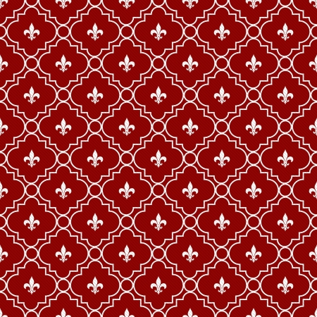 repeatable: White and Red Fleur-De-Lis Pattern Textured Fabric Background that is seamless and repeats Stock Photo