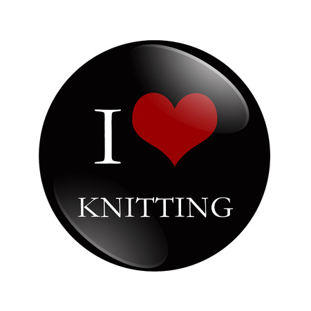 I Love Knitting button, A black and red  button with word Knitting isolated on a white background